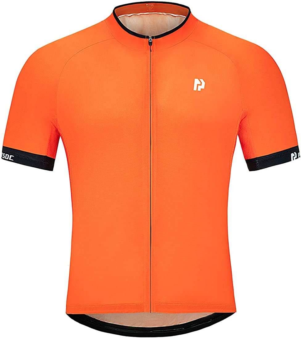 PTSOC Mens Basic Cycling Jerseys Tops Biking Shirt with 3 Rear Pockets Orange Medium