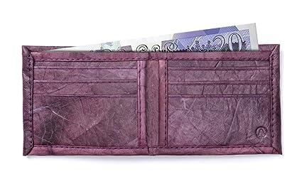 1ad8f4ede450 Leaf Leather Bifold Wallet for Men - Handmade Natural Design - Purple