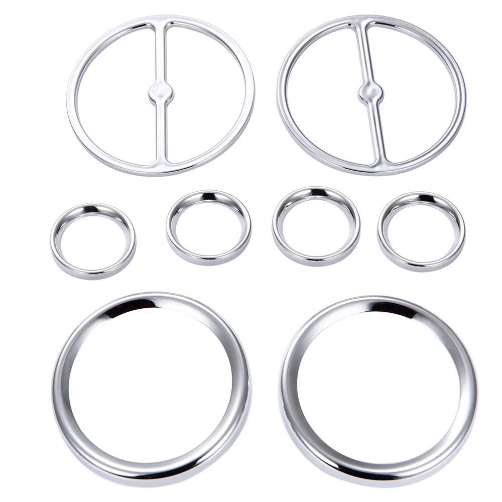 Amazicha 8 PCS Chrome Speedometer Gauges Bezels Horn Covers for Harley Touring Electra Street Ultra Classic Road Glide Trike Models 1986-2013 live4fun