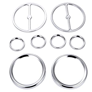 Amazicha 8 PCS Chrome Speedometer Gauges Bezels Horn Covers for Harley Touring Electra Street Ultra Classic Road Glide Trike Models 1986-2013