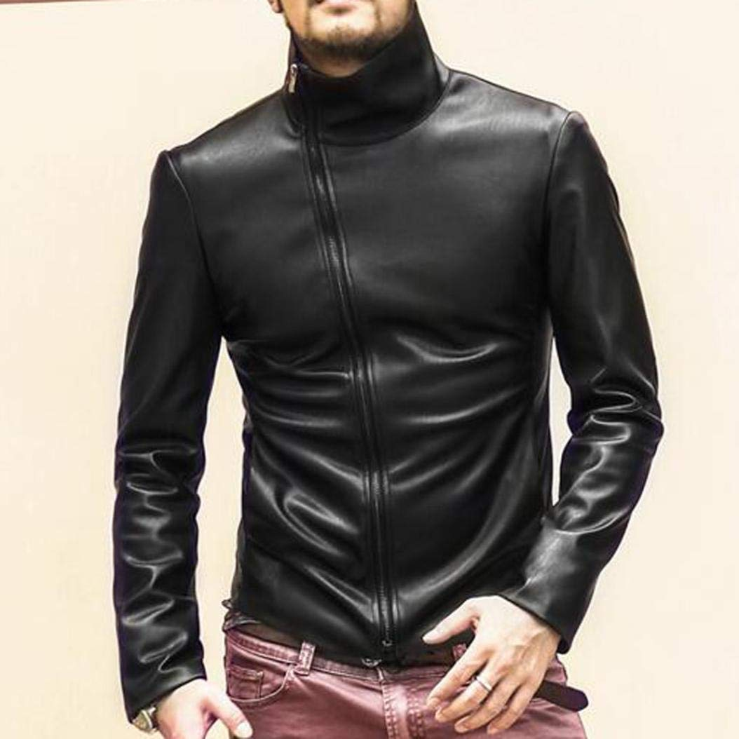 Autumn Winter Leather Biker Motorcycle Zipper Outwear Warm Fashion Coat Tops Willsa Mens Jacket