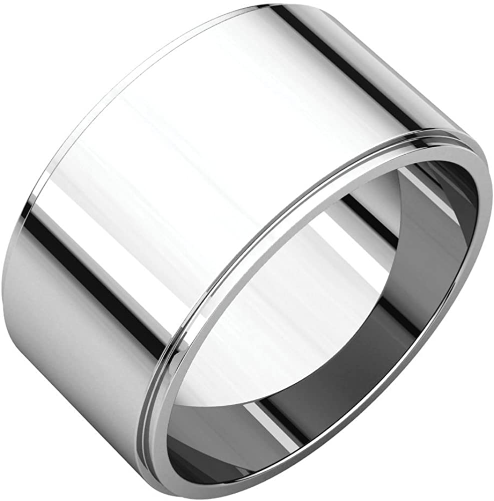 Jewels By Lux 925 Sterling Silver 10mm Flat Edge Wedding Ring Band