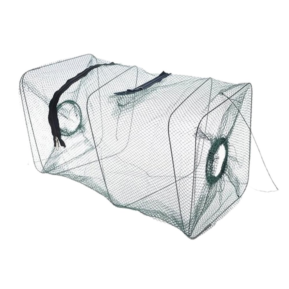 South Weekend Fishing Gear New Folding Fish Minnow Crab Fishing Bait Shrimp Trap Cast Net Cage (Green)