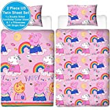 Peppa Pig Friends Duvet Cover with Matching Pillow Case – Two Sided Reversible Hooray Rainbow Design, Microfibre, Pink, Single