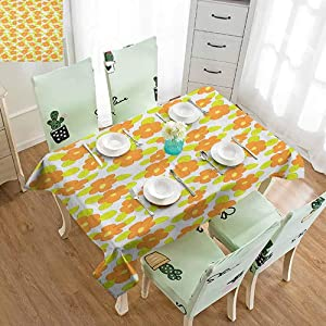 SLLART Vintage tablecloths Orange,Kids Theme Cute Girlish Pattern with Flowers and Green Leaves, Orange Apple Green Yellow W50 xL80,Table Flag Home Decoration