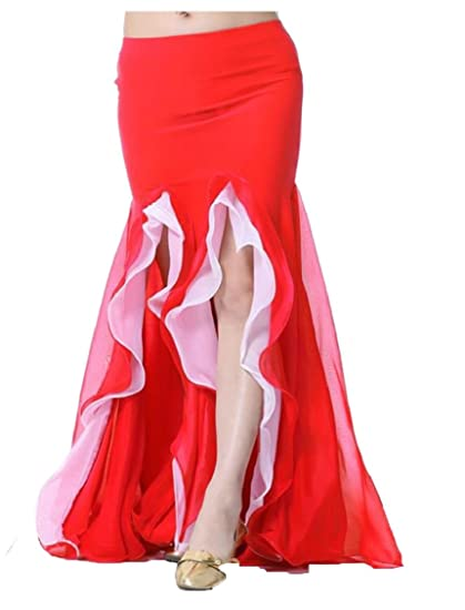 ffa16eb9f6 Jmwss QD Women's Sexy Belly Dance Double-Slit Ruffles Bodycon Maxi Skirt 1  OS at Amazon Women's Clothing store: