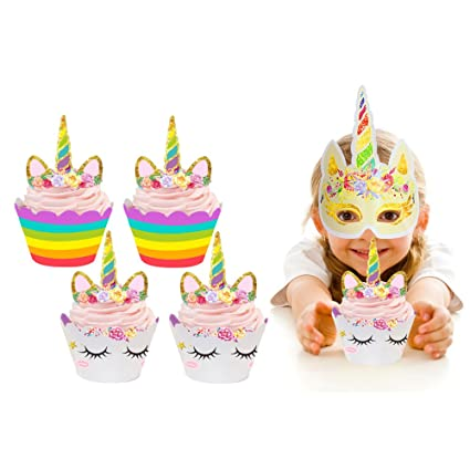 Amazon 24 Pack Unicorn Cupcake Toppers And Wrappers Double Sided Kids Party Cake Decorations 2 Masks For Supplies Kitchen Dining