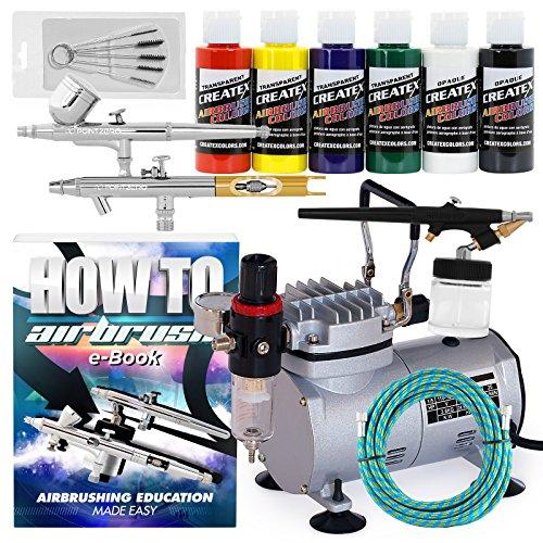 PointZero Multi-Purpose 3 Airbrush Kit w/Compressor and Createx Colors Set of 6 Paints