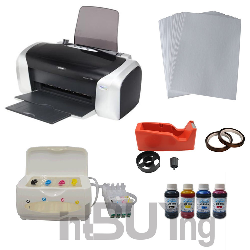INTBUYING Sublimation Epson C88 Printer CISS Ink System 4bottles Sublimation Ink A4 Paper Tape KIT by Heat Transfer Machine