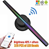 Upgraded WiFi Control 3D Hologram Fan Compatible with iPhone Android Phones,640P HD Floating 3D Video and Image LED Advertising Display for Stores,Bars Christmas Birthday New Year Party