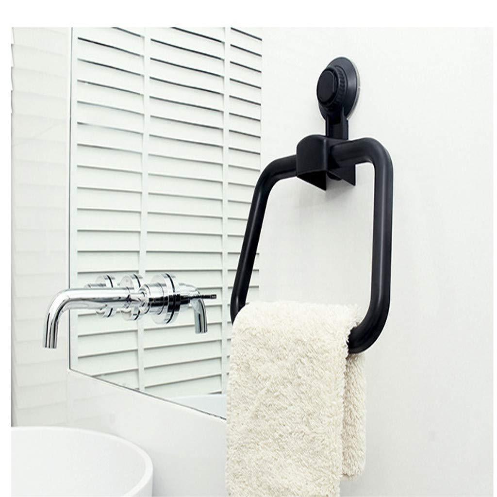 soporte de pared para ba/ño y toallas de mano negro toallero de pared con anillas Crylee Toallero de ba/ño