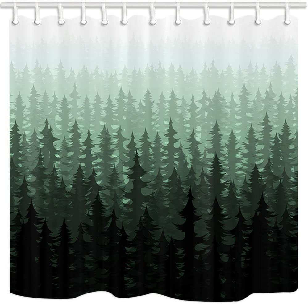 "NYMB Rustic Nature Forest Landscape Decor, Watercolor Pine Trees Shower Curtains for Bathroom, Polyester Fabric Farm House Fog Bath Curtain, Shower Curtain Hooks Included,Dark Green, (69"" WX70 H)"