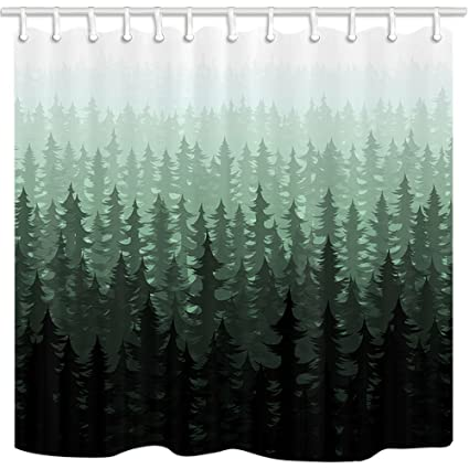 NYMB Nature Forest Landscape Decor Watercolor Pine Trees Shower Curtains For Bathroom Polyester Fabric