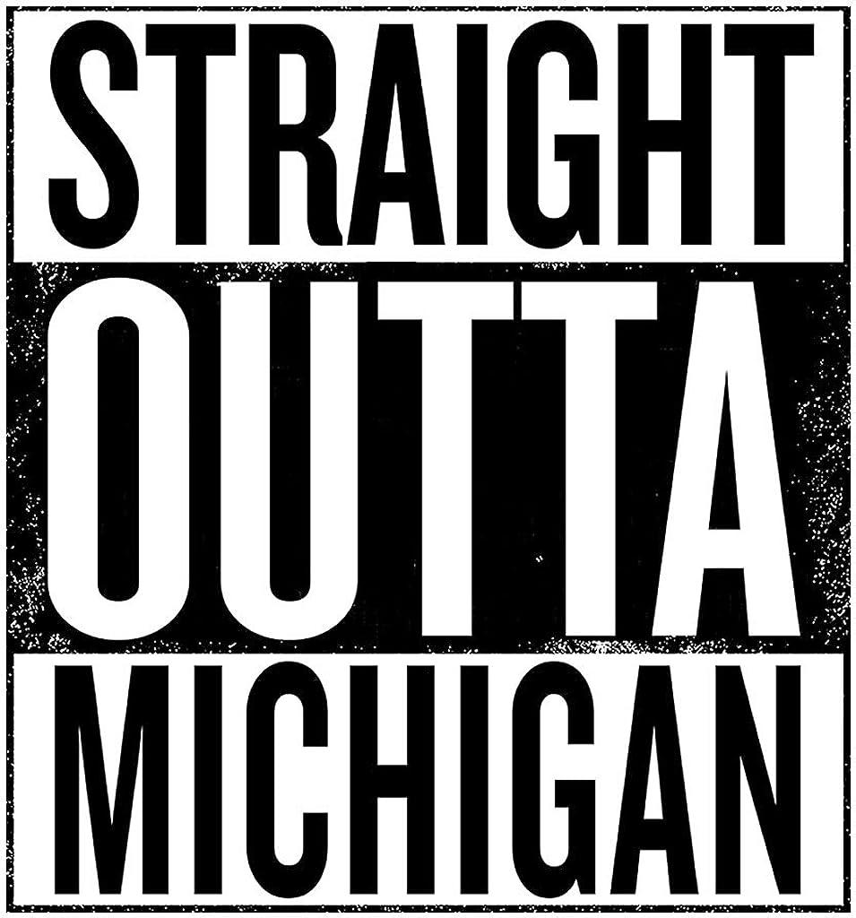 Coto7 Black Text Straight Outta Michigan US States Kids Sweatshirt