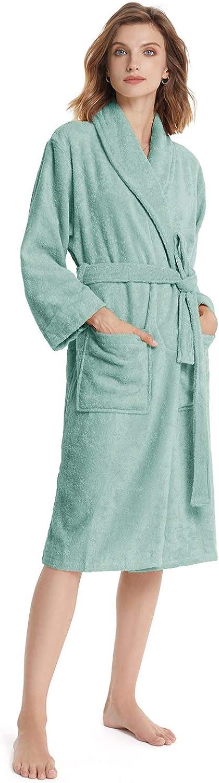 SIORO Abito da Donna Spugna di Cotone Asciugamano Abito di Cotone Collo Sciallato Caldo Accappatoio Assorbente Lunghezza Polpaccio Pigiami