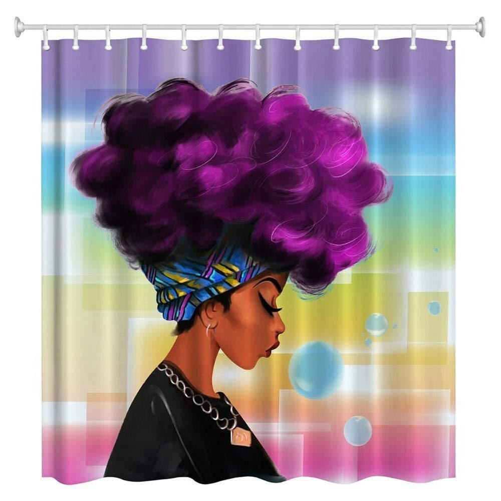 ZBLX Waterproof Women Black Shower Curtain African Girl w/Purple Hair Afro Hairstyle F55074. Read Full Description!