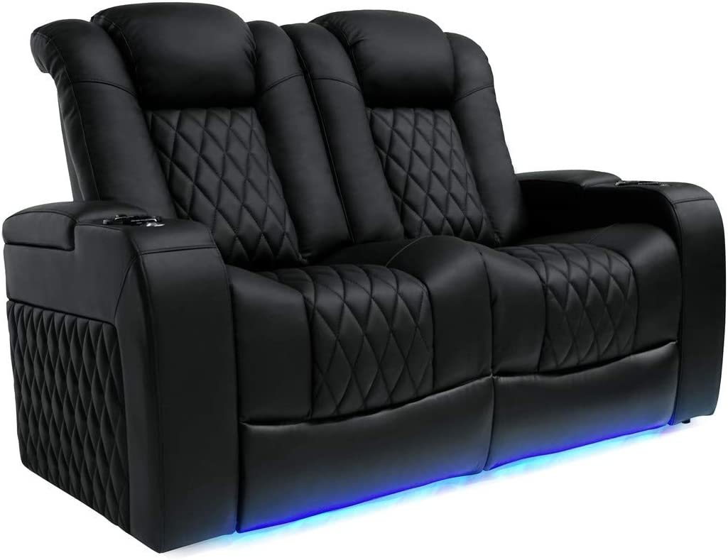 Valencia Tuscany Top Grain Nappa Leather Power Reclining, Power Lumbar, Power Headrest Home Theater Seating (Row of 2 Loveseat, Black)