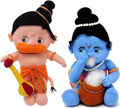 Prachi toys Hanuman, Krishna Hindu Idol Combo Soft Plush Toy- 34cm