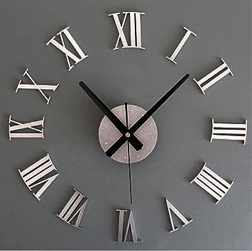 helizoe moderno 3d DIY sin Marco Digital reloj de pared números romanos grandes relojes de diámetro