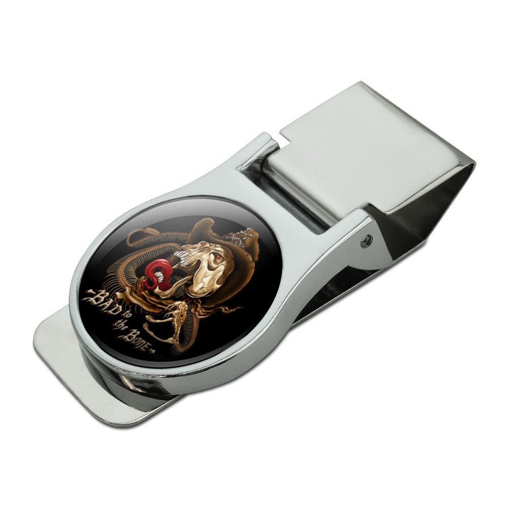 Bad To The Bone Skull Snake Biker Motorcycle Western Satin Chrome Plated Metal Money Clip