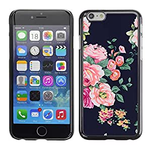 Planetar® ( Rose Black Vignette Rustic Floral Textile ) Apple iPhone 6 Plus(5.5 inches)Fundas Cover Cubre Hard Case Cover