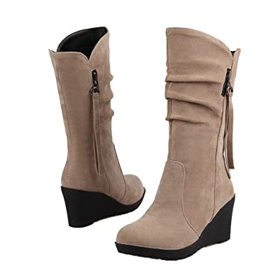 Keilabsatz Slouch Stiefel Tassel Anziehen Mittleres Kalb Plattform Stiefel (Schwarz-PU-37.5 EU) Xianshu WetBcwa
