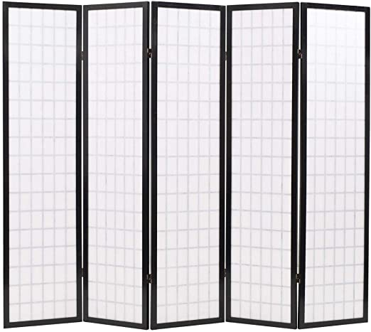 Festnight Divisor de Espacios Plegable Biombo Plegable con Paneles de Estilo Japonés (5 Paneles-200x170cm-Negro): Amazon.es: Hogar