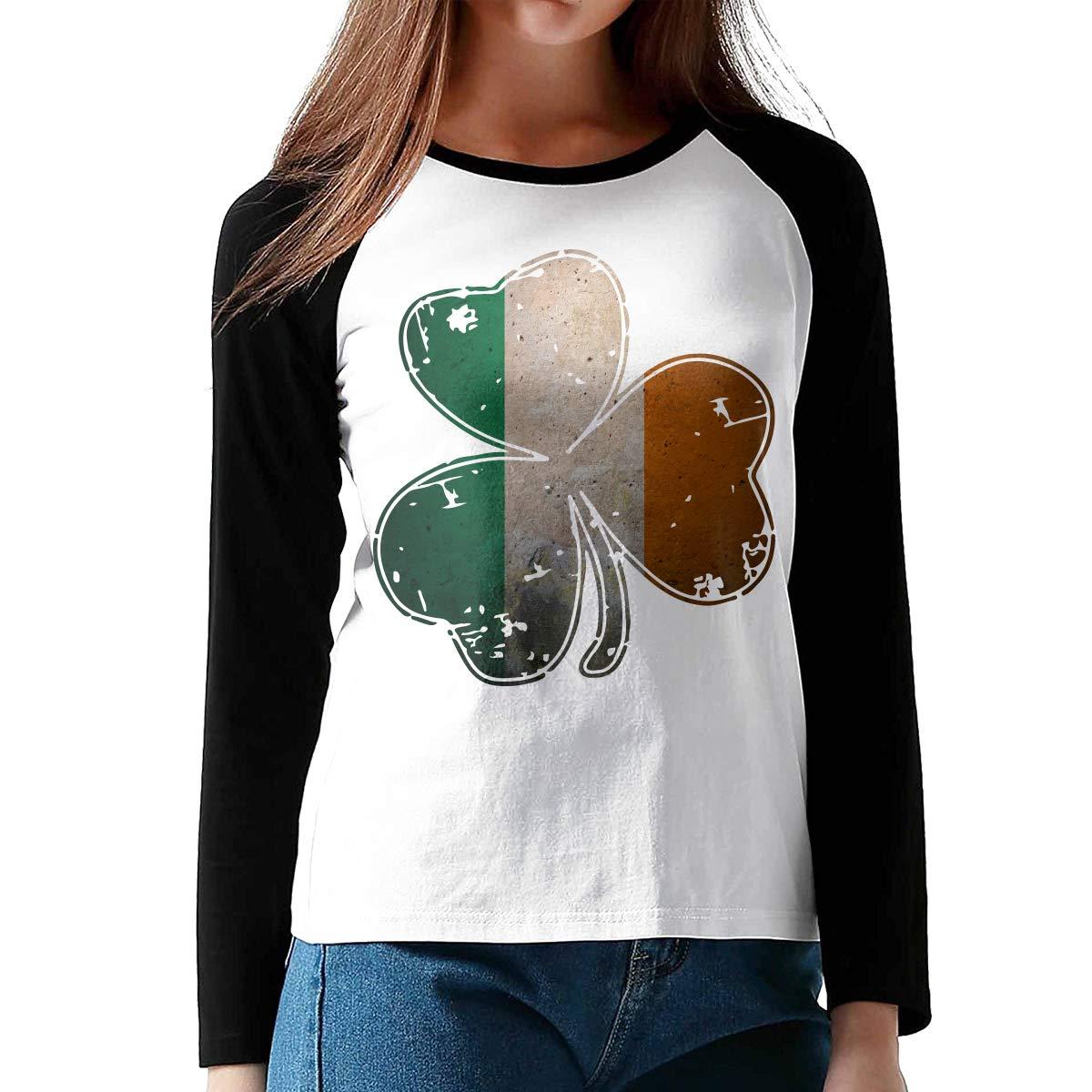 Vintage Irish Shamrock Ladies Crew Neck Tee Shirt Contrast Color Tunic Tops