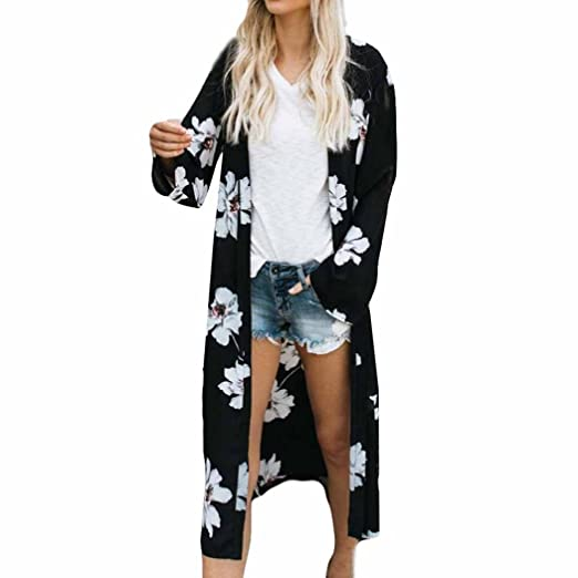 86daaa67a70 Challyhope Cardigan Women Floral Print Cover up Long Coat Tops Bikini Flowy  Chiffon Kimono Shirt Long