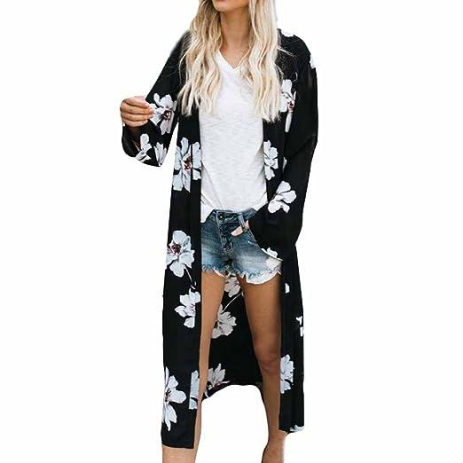 6c6c76f15784c Challyhope Cardigan Women Floral Print Cover up Long Coat Tops Bikini Flowy  Chiffon Kimono Shirt Long