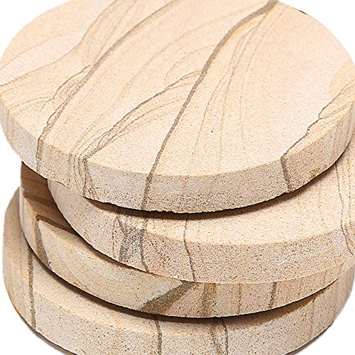 Coasters Sandstone Natural Absorbent (ENKORE Stone Coaster For Drinks Absorbent - Set of 4 Coasters, Natural Thirsty Absorbing Sandstone Body with Cork Backing No Holder, Oversize 4.1 inch Suits Large Mug & Wine Glass)