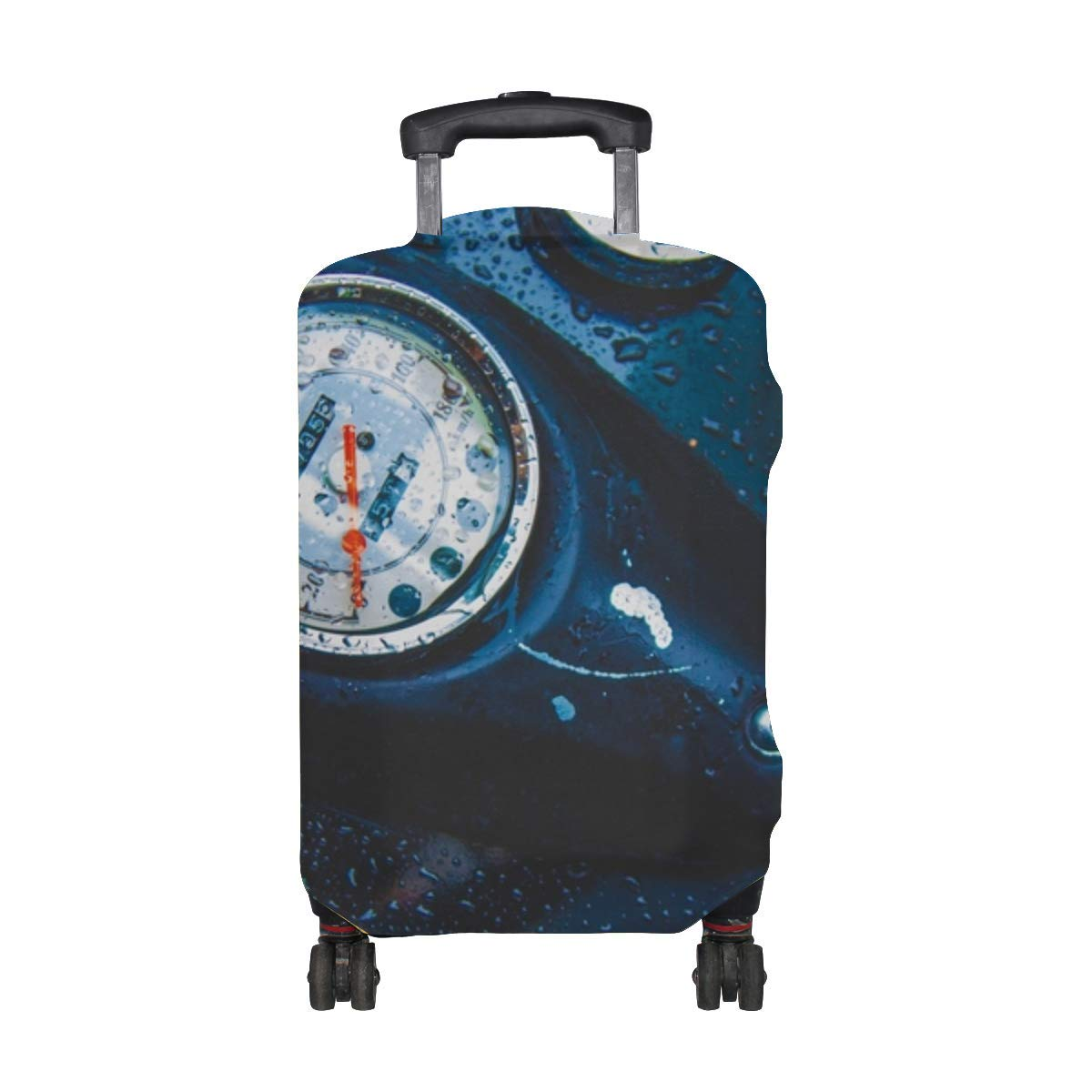 Tank Motorcycle Drops Speedometer Pattern Print Travel Luggage Protector Baggage Suitcase Cover Fits 18-21 Inch Luggage