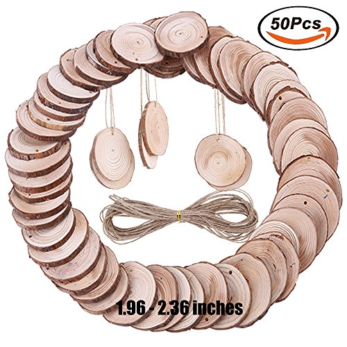 50 Pieces Wood Slices with holes NaturaL Unfinished Predrilled DIY Round Discs ornaments Tree Bark Wooden Circles with 33 Feet Natural Jute Twine Holes Round Log Discs 1.96 Inch - 2.36 Inch (Bark Ornament)