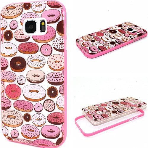Galaxy S7 Edge Case, Wandeneng Hybrid Fancy Colorful Pattern Hard Soft Silicone Bumper Case Fit for Galaxy S7 Edge(2016) (Donuts) Sales