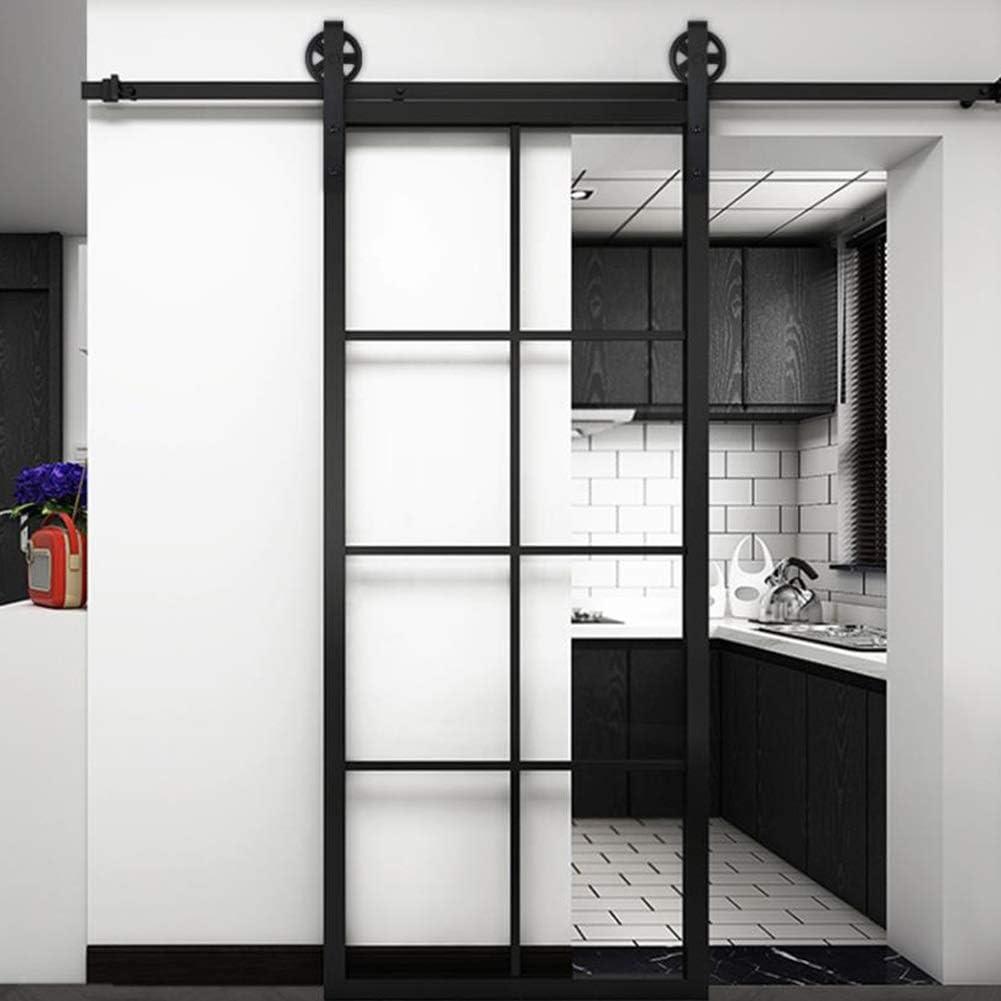 Color : Black, Size : 5.6FT 9 Sizes GZHENH-Tarpaulin Waterproof Sliding Barn Door Sliding Barn Door Hardware Kit Easy to Install Sliding Door System Save Space Closet Living Room