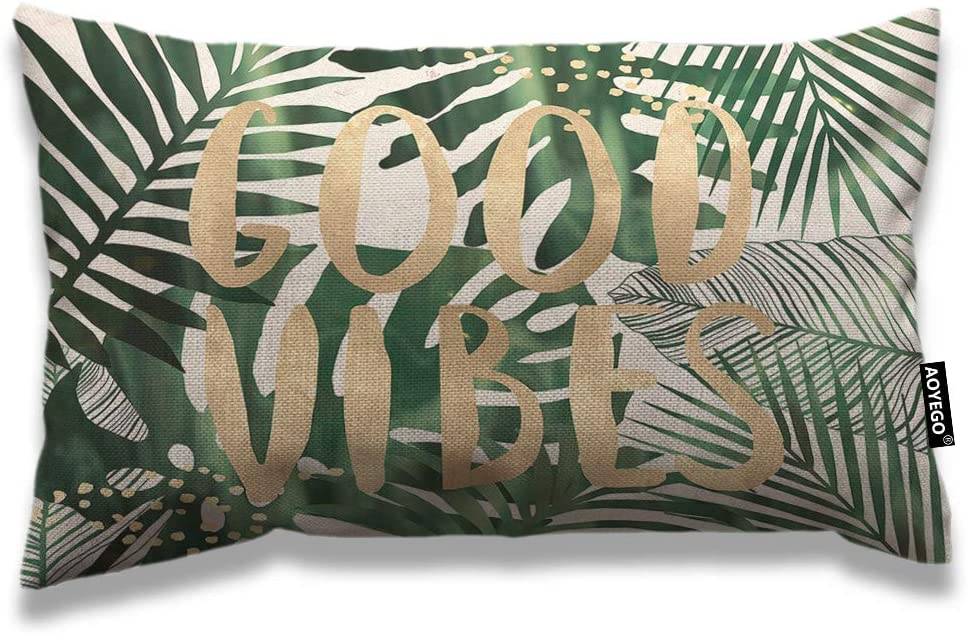 AOYEGO Palm Leaf Throw Pillow Cover 12x20 Inch Good Vibes Word Palm Tree Tropical Jungle Forest Leaves Rectangle Pillow Cases Home Decorative Cotton Linen Cushion Cover for Bed Sofa Green