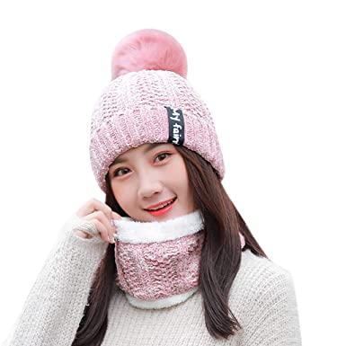 QIUUE Women Winter Warmer Stretch Knitted Cap Beanie Hats Hairball Beanies for Boys Girls Knitting Wool Thick Baggy Snow Hat