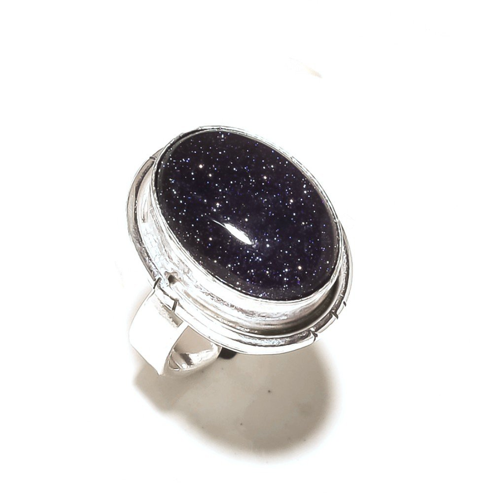 Black Sunstone 925 Sterling Silver Plated 8 Grams Ring Size 5.5 US Handmade Jewellry Sizable