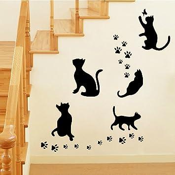 Winhappyhome gatos negros linda etiqueta de la pared pegatinas removibles para el fondo Habitación Sala Decoración del hogar del papel pintado: Amazon.es: ...