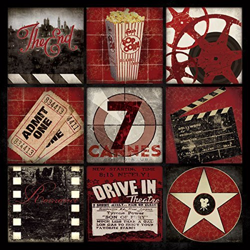 Movie Night! Classic Cinema Film Old-Fashioned Movie Collage; One 12X12 Poster Print. Red/Black/White (Film Poster Movie Classic)