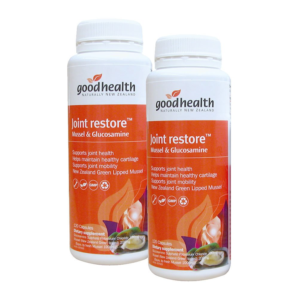GoodHealth Joint Restore Mussel & Glucosamine 120 Capsules New Zealand Green Lipped Mussel Supports Joint Mogility Health (Pack of 2)