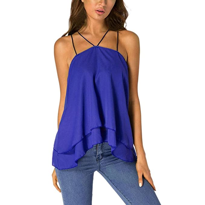 OHQ Blusa Mujer Elegante Camisetas Top Casual Honda En Color Liso para Mujer Camiseta De Tiras