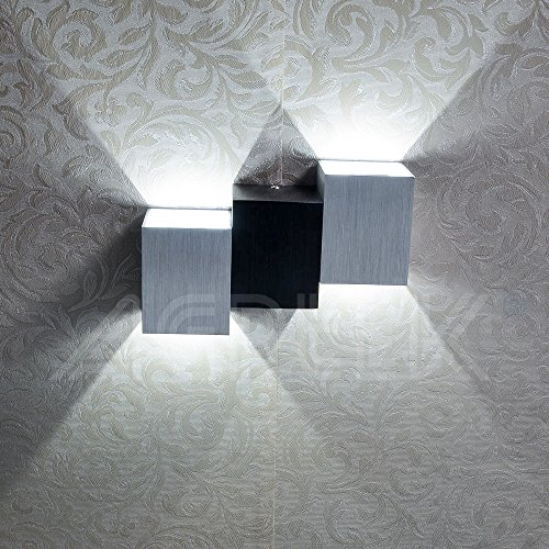6W Modern Wall Light, AGPtek Indoor Up&Down Night Light, Cubic Body Wall Lamp for Hallway, Staircase, Living room, Dining Room, Bedroom (Pure White)