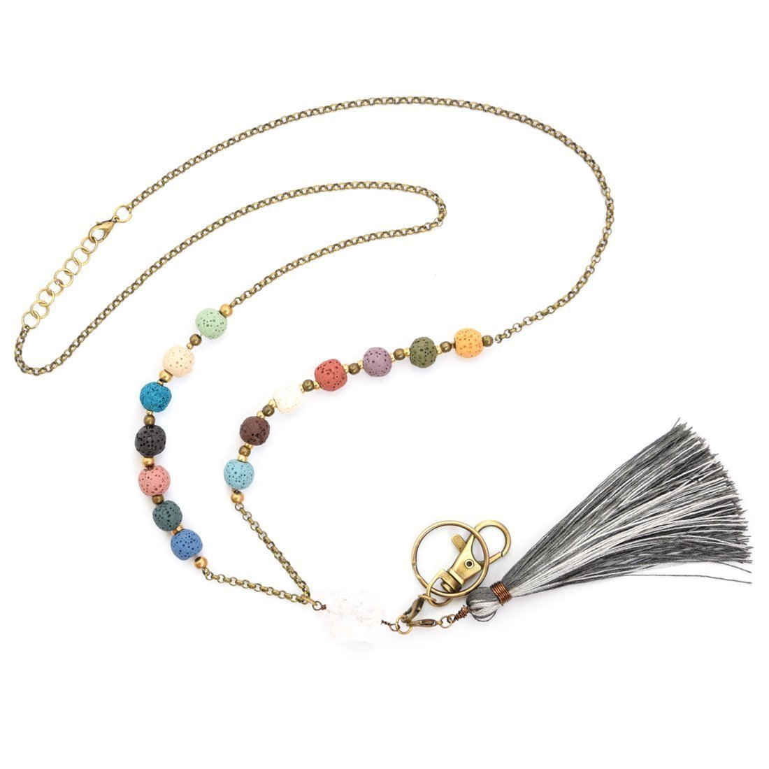 Crimmy - Fashion Beaded Necklace Lanyards for Women - Copper Chain ID Badge Holder 34'' - Jewelry ID Holder with Convertable Tassel and Hook - Essential Oils Diffuser