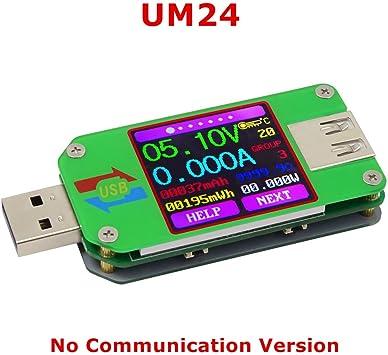 1.44 Inch 5A USB 2.0 Type-C Innovateking-EU USB Tester UM25 USB Voltmeter USB Voltage Tester Color LCD Display Tester USB Digital Multimeter Current Voltage Meter Voltmeter Ammeter Battery Charge