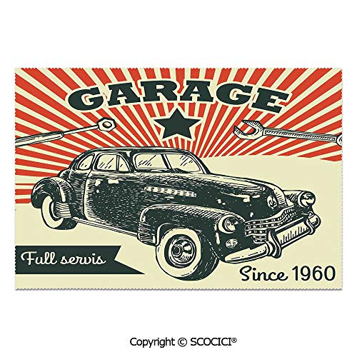 SCOCICI Place Mats Set of 6 Personalized Printed Non-Slip Table Mats Retro Car and Garage Advertising Poster Style Picture with Grunge Effects 1960s Theme for Dining Room Kitchen Table Decor