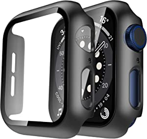 Tauri 2 Pack Hard Case Compatible for Apple Watch SE Series 6 5 4 40mm Built in 9H Tempered Glass Screen Protector Slim Bumper Touch Sensitive Full Protective Cover Compatible for iWatch 40mm - Black