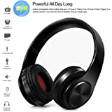 Bluetooth Wireless Headphones,Wireless Headphone Foldable Bluetooth 4.0 Stereo Headset 3.5mm Wired Sports Headphones with Mic for Mobile Phone PC Laptop (Black)