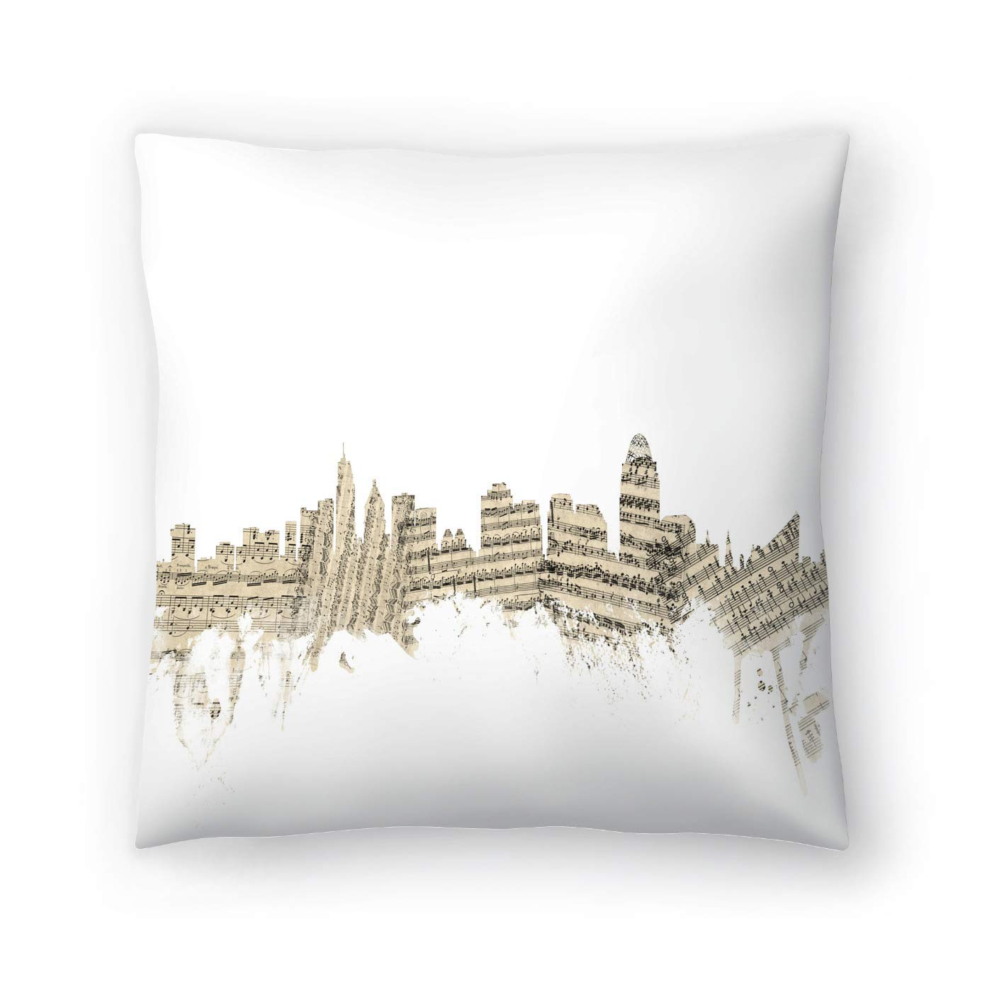 Buy American Flat Cincinnati Ohio Skyline Sheet Music Cityscape 2 Art Pause Pillow By Michael Tompsett 18 X 18 Online At Low Prices In India Amazon In