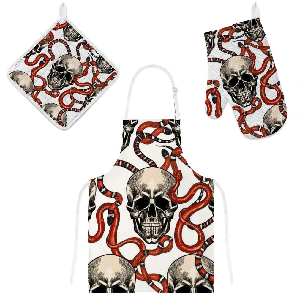 Top Carpenter Polyester Insulation Kitchen Oven Mitts Potholder Apron 3Pcs Set Skulls and Red Snakes On White Non Slip Heat Resistant Gloves for Baking Cooking BBQ